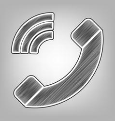 Phone sign pencil sketch vector