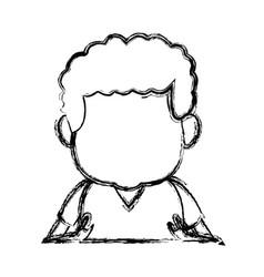 Portrait little boy cartoon kid image vector