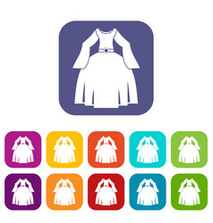 Princess dress icons set flat vector