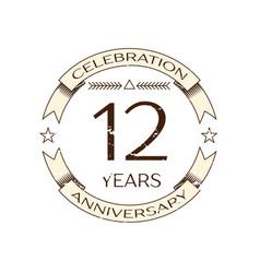 realistic twelve years anniversary celebration vector image vector image
