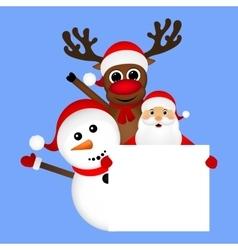 Santa claus with snowman and reindeer peeking vector