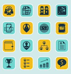Set of 16 hr icons includes business goal vector