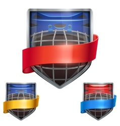Set of bright shield in the ice hockey helmet vector