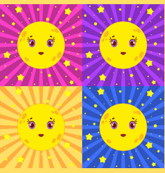 set of cartoon yellow moons smiling on a colored vector image vector image