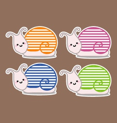 Snails with different col vector image