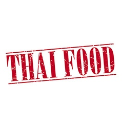 Thai food red grunge vintage stamp isolated on vector