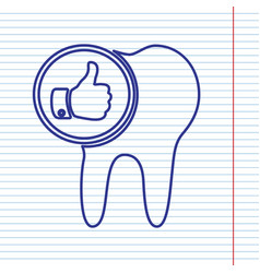Tooth sign with thumbs up symbol navy vector