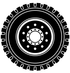 Truck wheel black white symbol vector