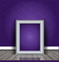 vintage picture frame leaning against damask vector image vector image