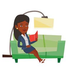 Woman reading book on sofa vector