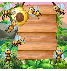 Wooden sign with bee flying in garden vector image vector image