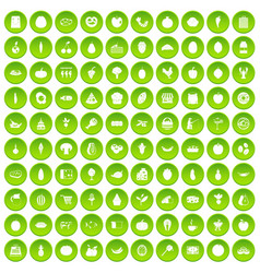 100 natural products icons set green vector