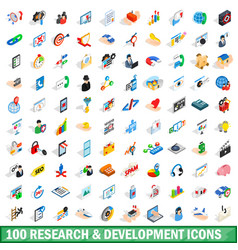 100 research development icons set vector
