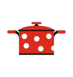 Pot with polka dots icon flat style vector