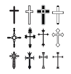Christian cross icons line black christian cross vector