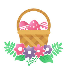 color basket with easter eggs and flowers on a vector image