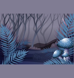 Forest scene at night time vector