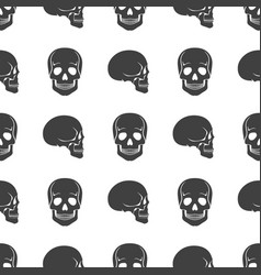 Human skulls on white seamless pattern vector