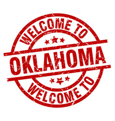 Welcome to oklahoma red stamp vector