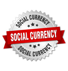 Social currency round isolated silver badge vector