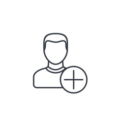 add user new friend member and plus sign thin vector image