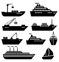 Ship and boat icons vector