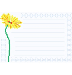 Sheet of paper with chamomile vector