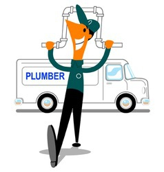 Plumber with van vector