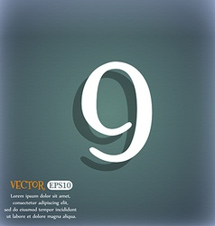 Number nine icon sign on the blue-green abstract vector