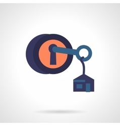 Round lock with key flat icon vector
