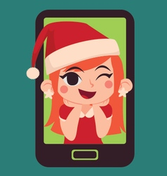 Cute christmas girl inside a phone vector
