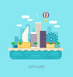 City life flat style conceptual for web banners or vector