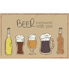 A hand drawn vintage card with beer dishes bottle vector