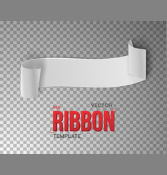 White ribbon banner 3d realistic vector
