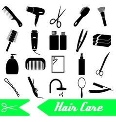 Hair care theme black simple icons set eps10 vector