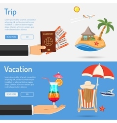 Vacation and trip banners vector