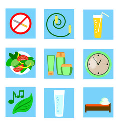 a set of icons healthy style vector image vector image