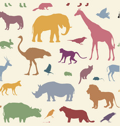 animal silhouette seamless pattern wildlife vector image vector image