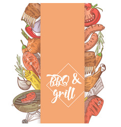 Bbq and grill hand drawn design with steak vector