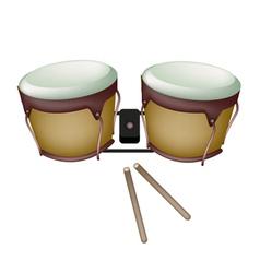 Beautiful bongo drum with sticks vector