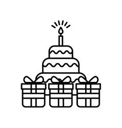 Birthday cake and gift boxes vector