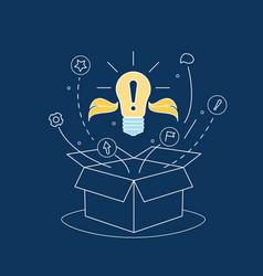 Box idea with electric light bulb thin line vector