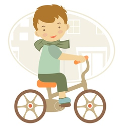 Boy on a bycicle vector