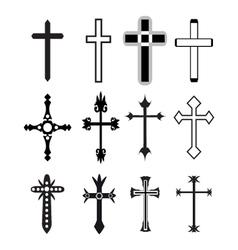 christian cross icons line black christian cross vector image