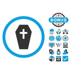 Coffin Flat Icon with Bonus vector image vector image