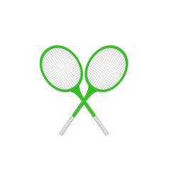 crossed tennis rackets in retro design vector image vector image