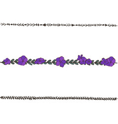 Doodle floral line with violets flower design vector