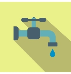 Faucet flat icon with shadow vector image