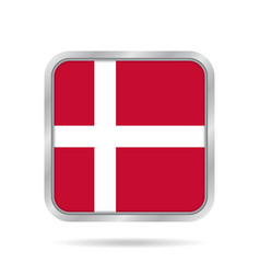 flag of denmark shiny metallic gray square button vector image vector image