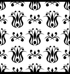 Floral black seamless pattern vector